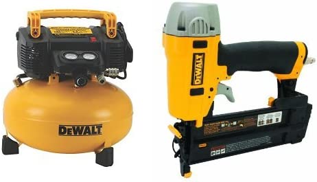 DEWALT DWFP55126 6-Gallon 165 PSI Pancake Compressor with DWFP12231 Pneumatic 18-Gauge 2-Inch Brad Nailer Kit