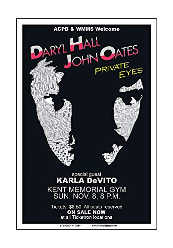 (Raw Sugar Art Studio Hall and Oates 1981 Kent State Concert Poster)