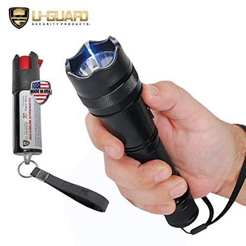 Gun Stun Scorpion - Police Flashlight Tazer Heavy Duty Stun Gun Pepper Spray Keychain Self-Defense Kit. Metal Small Stun Gun Flashlight With Hottest Keychain Pepper Spray Non-lethal Self Defense Weapons