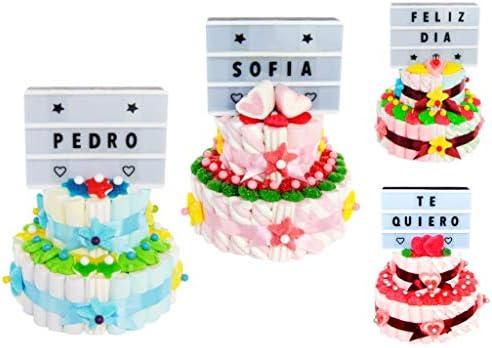 Original Tarta de Golosinas 2 Bases + Panel de Letras con Luz. Caramelos y Dulces Juguetes y Regalos para Fiestas de Cumpleaños, Bodas, Bautizos, Comuniones .: Amazon.es: Hogar