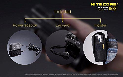 NITECORE TM28 4CREE XHP35 HI max.6000LM beam distance 655meter LED outdoor flashlight + 4pcs 18650 3100mAh li-ion batteries by Nitecore (Image #5)
