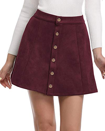 Argstar Womens Faux Suede Button Closure A-Line Mini Short Skirt, Wine, Small