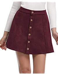Women's Faux Suede Button Closure A-Line Mini Short Skirt...
