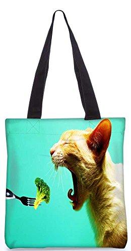 """Snoogg Katze Essen Broklyn Tragetasche 13,5 X 15 In """"Einkaufstasche Dienstprogramm Trage Von Polyester Canvas"""
