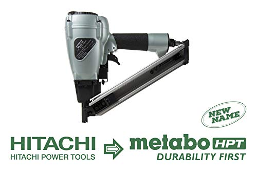 Metabo HPT NR38AK Positive Placement Metal Connector Pneumatic Nailer, Strap-Tite Fastening System, Accepts 1-1 2 Nails, For Fastening Various types of Pre-Punched Hole Metal Connectors to Wood
