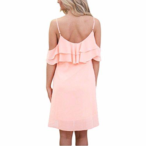 Ai Halter Short Midi Floral Women moichien Sleeve Dress Trumpet Pink Dress Ruffle wwqHBn61