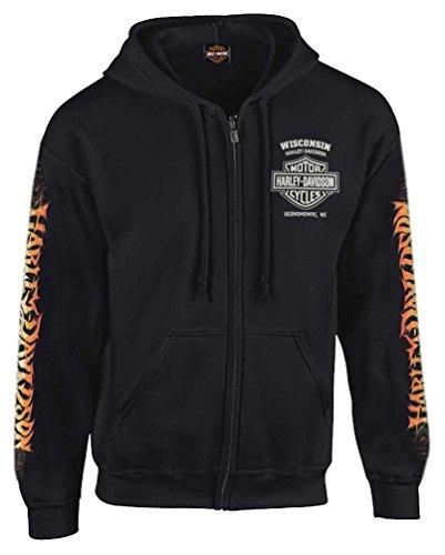 Harley-Davidson Men's Inferno Eagle Full-Zipper Hooded Sweatshirt, Black (Harley Hoodie)