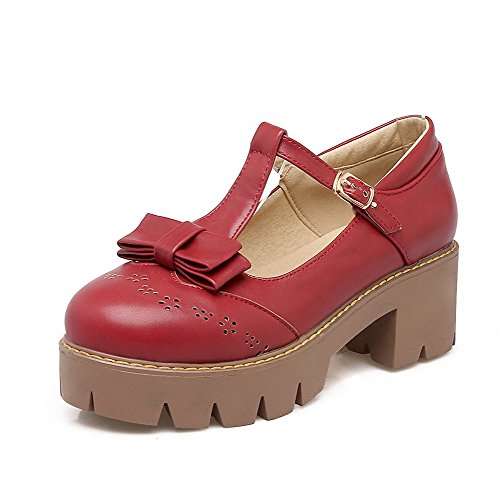 Odomolor Women's Kitten-Heels Solid Buckle PU Round-Toe Pumps-Shoes, Red, 37