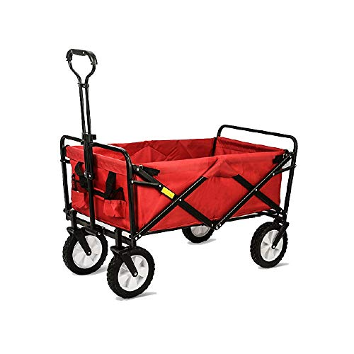ZCF YEUX Hand Trucks Beach Trolley Outdoor Folding Trolley Folding Trolley car Trolley Linen cart Folding Trolley (red) (Color : C)