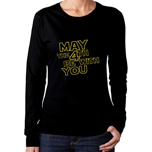 Binfldg May The 4th Be with You Women's Cotton Crew Neck with Long Sleeves -