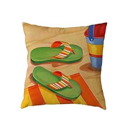Amazon.com: Beach Stroll Pillow Cover Surfboard Flip Flops ...
