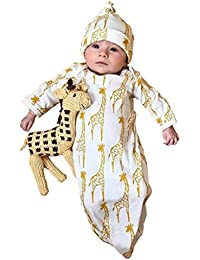 Newborn Infant Kids Baby Girls Boys Giraffe Pajamas Gown+Hat Outfits Clothes Set