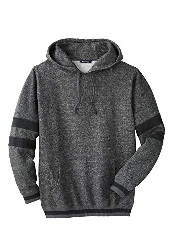 KingSize Men's Big & Tall Coaches Collection Colorblocked Pullover Hoodie, Heather Slate Marl Big-7XL