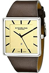 Stuhrling Original Men's 342.3315K15 Classic Ascot Saratoga Quartz Ultra Slim Brown Leather Strap Watch