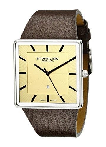 STUHRLING ORIGINAL Herren Armbanduhr 342.3315K15Classic Saratoga Schweizer Quarz Ultra Slim Datum braun