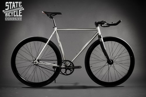 State Bicycle The Contender Premium Fixed Gear Bike, 52cm, Silver