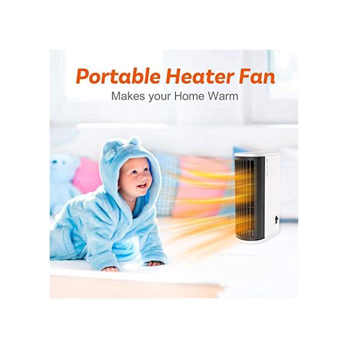 41m4CiV3RAL ▶Buen Compañero de Invierno: Nuestro calentador de aire caliente está hecho de material ignífugo ABS y tiene un diseño de protección contra sobrecalentamiento, seguro de usar. Incluso en el frío invierno, puede disfrutar de un calor ilimitado. ▶Calentamiento Rápido y Ahorra Energía: Nuestro mini calentador genera calor a través del cable calefactor, que puede calentarse más rápido que los calentadores normales. Gracias a la potencia de hasta 500 vatios, el aire se calienta de manera eficiente y se puede tambien ahorrar electricidad. ▶Ultra Fácil de Usar: Con diseño de dos velocidades ajustables, fácil de operar. Presione el botón hacia la izquierda para encender el modo de calentar el aire; presione hacia la derecha para entrar el modo de calentar el aire + movimiento de cabeza.