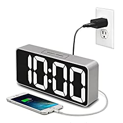 iCKER 9 Digital Alarm Clock Large Display with USB Charger, LED Clock with Dimmer for Bedroom, Snooze Function, Battery Backup