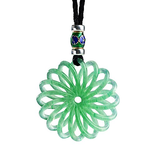 Carved Stone Pendant (iSTONE Green Jade Pendant Necklace 3D Hand Carved with Black Adjustable Rope Chain)