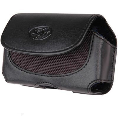 Leather Case Pouch (with Belt Clip) for Motorola Razr V3/ V3a/ V3c/ V3e/ V3i/ V3r/ V3m/ V3xx/ V8/ V9/ V9M - Horizontal Black ()