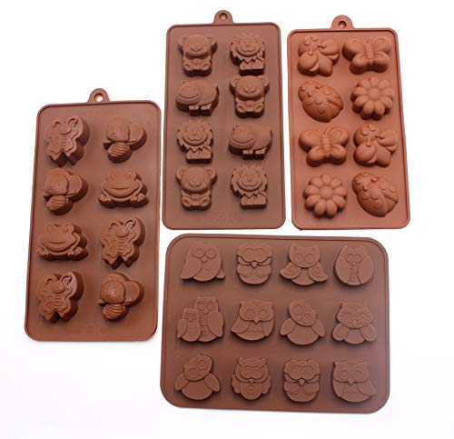 Silicone Molds Non-Stick Chocolate Candy Mold, Soap Molds, Silicone Baking Mold Making Kit, Set of 4 Forest Theme with Different Shapes Animals, Adorable & Fun for Kids ()