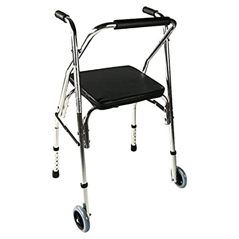 Andador para ancianos, Aluminio, Plegable, Asiento y respaldo, 2 ruedas, Plateado, Compostela, Mobiclinic