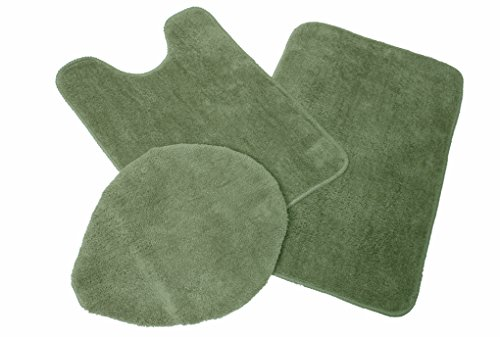 J & M Home Fashions 3-Piece Microfiber Bath Rug Set, Olive Green (Toilet Seat Cover Green)