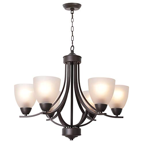 - VINLUZ Modern Chandeliers 6 Light Oil Rubbed Bronze Contemporary Pendant Light Rustic Vintage Dining Room Lighting Fixtures Hanging, Flush Mount Ceiling Light for Bedroom Living Room Foyer