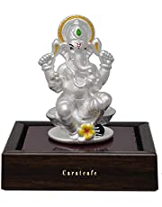 CaratCafe Lord Ganesha Ganpati Elephant God Idol Pure Silver 999 Statue,for Car Dashboard Puja Temple Good Luck Gift & Home Decor { NET WT 14-15 GMS Pure Silver} { 2 x 1 Inches}