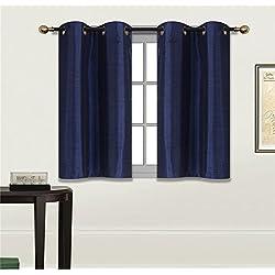 "Elegant Home 2 Panels Tiers Grommets Small Window Treatment Curtain Faux Silk Semi Sheer Drape Short Panel 30""W X 36""L Each for Kitchen Bathroom or ANY Small Window # N25 (Navy Dark Blue)"