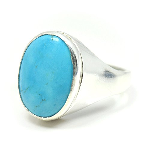 Jewelryonclick 7 Carat Genuine Natural Turquoise Gemstone Sterling Silver Bold Ring For Men (Bold Mens Ring)
