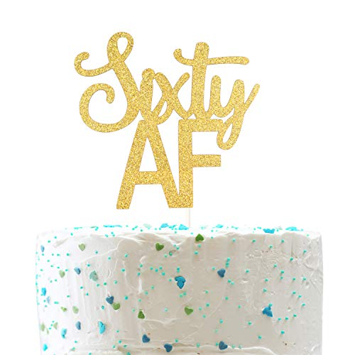 (Sixty AF Cake Topper, Funny 60th Birthday,Cheers to 60 Years Party Decorations (Double Sided Gold Glitter) )
