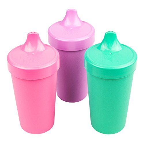 Re-Play Made in The USA 3pk No Spill Sippy Cups for Baby, Toddler, and Child Feeding - Bright Pink, Purple, Aqua (Sparkle)