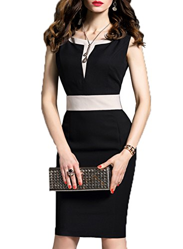 WOOSEA Women's 2/3 Sleeve Colorblock Slim Bodycon Business Pencil Dress (Large, Black+White)