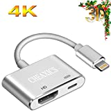CHEAXICS Compatible with iPhone X 8 7 6 5 iPad iPod HDMI Cable - Digital AV Adapter - 2018 Latest Plug and Play 1080P Audio AV Connector