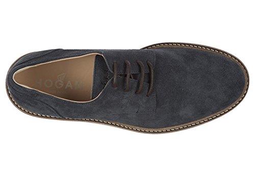 Hogan - Zapatillas Clásicas Con Cordones, Ante Con Cordones, Para Hombre H322 Derby Blu