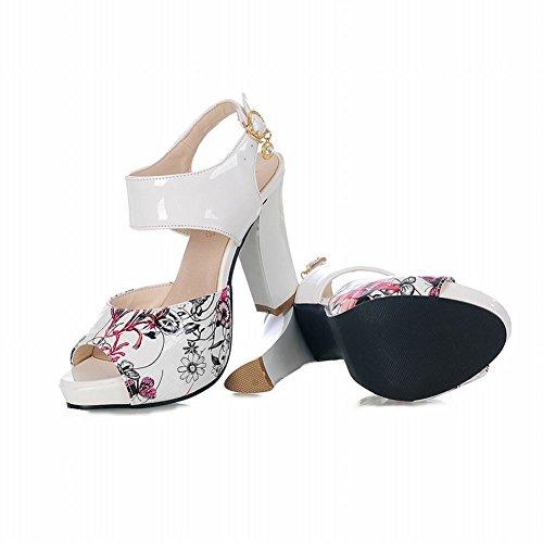 Carolbar Kvinna Elegans Blommönster Spänne Mode Peep Toe Plattform Chunky Hög Klack Sandaler Rött