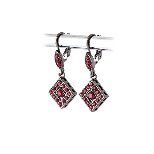 Victorian Gunmetal and Austrian Crystal Leverback Earrings, Red, One Size