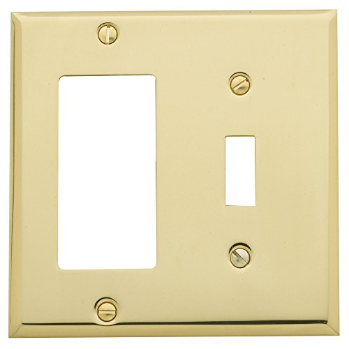 Baldwin Estate 4743.030.CD Square Beveled Edge GFCI Single Toggle Combo Wall Plate in Polished Brass, 4.5