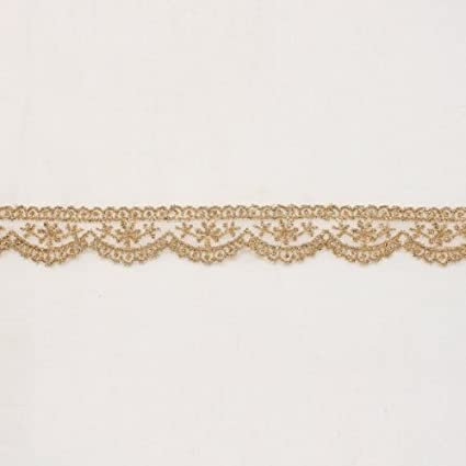 selling by the yard 1 inch wide Metalic Gold color lace trim ribbon  =