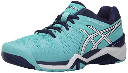 ASICS Women's GEL-Resolution 6 Tennis Shoe, Pool Blue/White/Indigo Blue, 5 M US