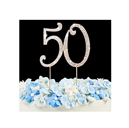 50 Cake Topper | Premium Bling Crystal Rhinestone Diamond Gems | 50th Birthday or Anniversary Party Decoration Ideas | Quality Metal Alloy | Perfect Keepsake ...