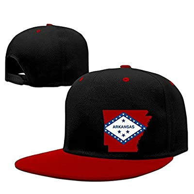 WellShopping Map Of Arkansas Flag Design Solid Flat Bill Snapback Baseball Cap Hip Hop Unisex Custom Hat.
