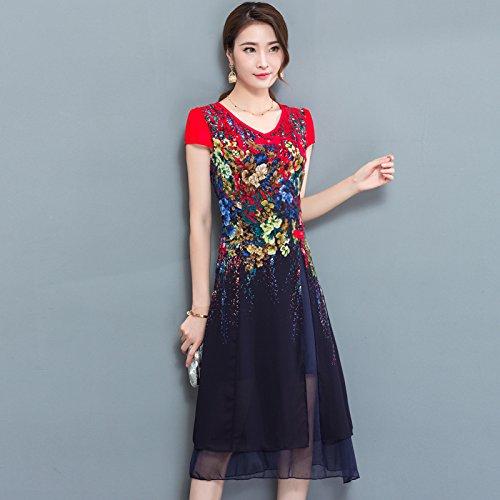 XIU*RONG V Collar Con Manga Corta Vestido Impresión Chiffon Vestido Mama Falda Tibetan green color
