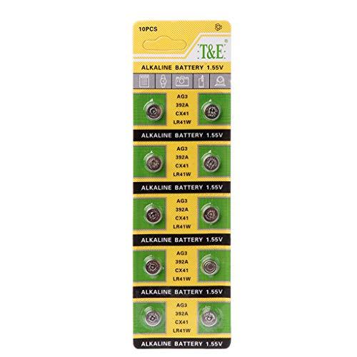MANGKE - 10PCS Stable Long Lifetime Cell Coin Alkaline Battery AG3 1.55V - Button Batteries SR41 192 L736 384 SR41SW CX41 LR41 392 - Lamp Chain Finger Light Watch Toys Remote