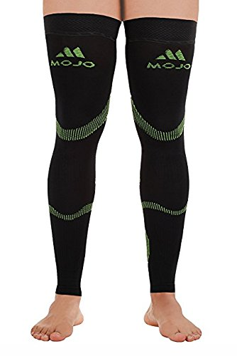 Mojo Sports Recovery Compression Thigh Sleeve- Graduated Compression Stockings Treat Hamstring and Quad Injuries - Hamstring Compression Sleeve - Running Compression Thigh Sleeve (Small, Black Green) by Mojo Compression socks