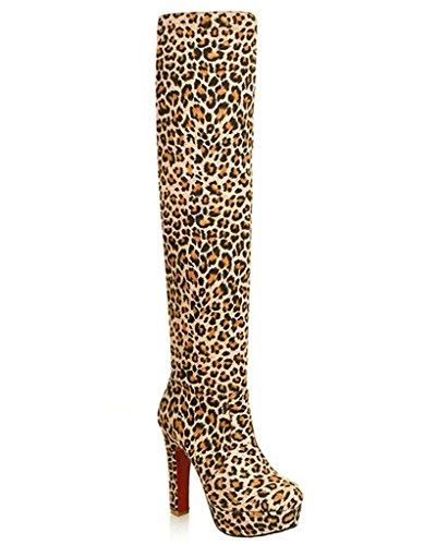 Maybest Womens Fashion Muti Slitage Låret Över Knä Stretch Kängor Hög Klack Leopard