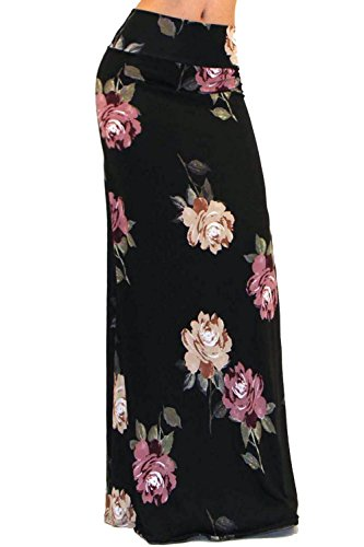 Vivicastle Women's colorful Printed Fold Over Waist Long Maxi Skirt (Large, EE17, Blk/Multi)