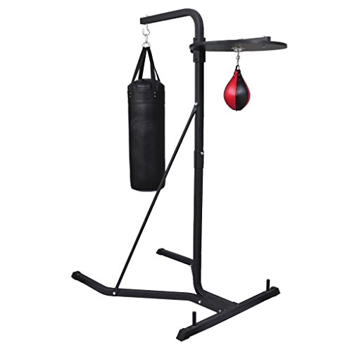 vidaXL Home Gym 2-Way Boxing Stand w/Punching Bag Inflatable Speedball Dual Station by vidaXL