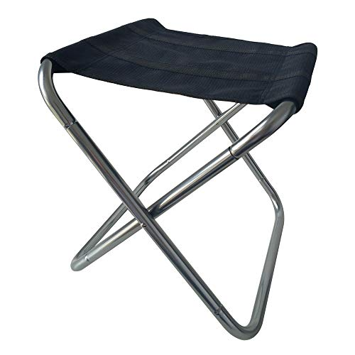 Compact Folding Camp Stool Ultralight Portable Mini Chair for Camping Fishing Hiking Gardening Beach Silver M